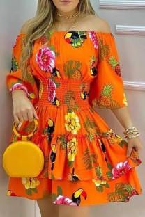 Sommer Orange Floral Off Shoulder Skater Kleid