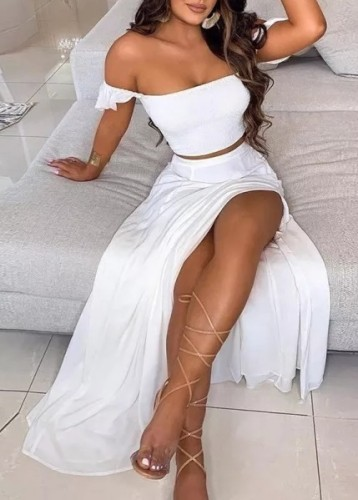 Summer White Ruched Crop Top and Slit Long Skirt 2PC Matching Sundress Set