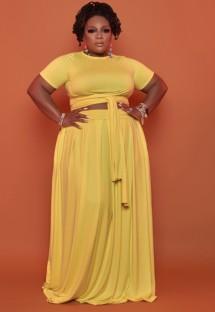 Летний укороченный топ с желтым узлом и длинная юбка большого размера