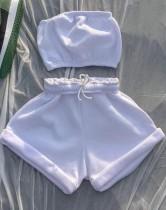 Conjunto de sudadera y top bandeau de algodón blanco informal de verano
