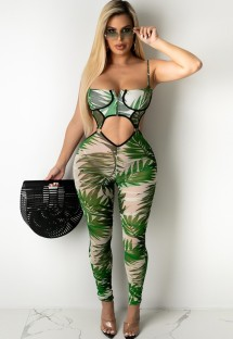 Sommer Print Sexy Cut Out Strap Bodycon Jumpsuit
