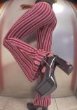 Yaz Desenli Çizgili Yüksek Bel Flare Pantolon
