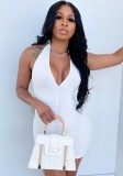 Summer White Knit Sexy Deep-V entallado Rompers