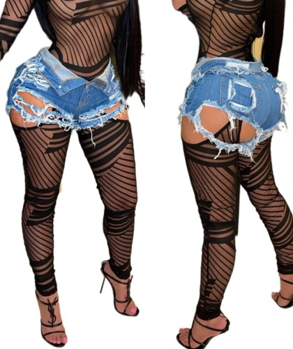 Summer Blue High Waist Ripped Damaged Denim Shorts