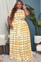 Summer Plus Size Plaid Knotted Crop Top und Long Rock Matching Set