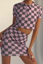 Conjunto a juego de top corto a cuadros de dos piezas de verano y minifalda