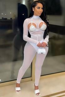 Tuta aderente a maniche lunghe con coppe con paillettes sexy a rete bianca estiva