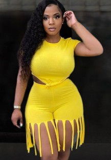 Summer Plus Size giallo sexy crop top e pantaloncini con frange 2 pezzi coordinati