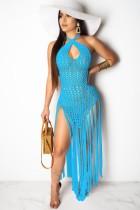Пляжное синее вязаное длинное платье с бахромой и бахромой на шее Summer Beach Cover-Up