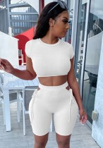 Sommer Zweiteiliges White Fit Crop Top und Shorts mit hoher Taille, passendes Set