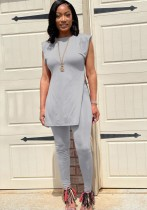 Sommer Casual Grey Side Slit Langes Shirt und Fit Pants Matching Set