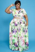 Conjunto a juego de top corto con nudo floral y falda larga de verano de talla grande