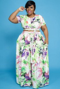 Summer Plus Size Floral Knotted Crop Top und Long Rock Matching Set