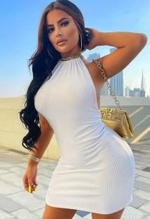 Mini abito sexy con scollo all'americana in maglia bianca estiva