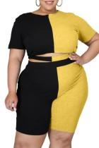Summer Plus Size Zweiteiliges Blockfarben-Crop-Top und Shorts-Set
