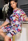 Sommer Print Casual Shirt und Biker Shorts passend zum 2PC Set