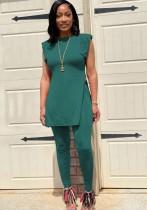Conjunto de verão casual verde com fenda lateral longa camisa e calça justa