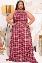 Summer Plus Size Plaid Halter Long Maxi Dress