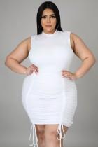 Verano talla grande blanco sexy sin mangas fruncido vestido ajustado con cuerdas