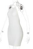 Summer White Knit Sexy Neckholder Minikleid