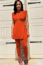 Summer Casual Orange Seitenschlitz Langes Shirt und Fit Pants Matching Set