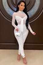 Mono bodycon anudado de manga larga con pliegues sexy blanco de verano