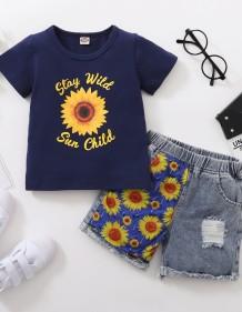 Kids Girl Summer Floral Shirt en bijpassende Denim Short Set