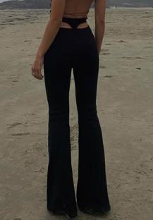 Pantaloni svasati a vita alta con taglio sexy nero estivo