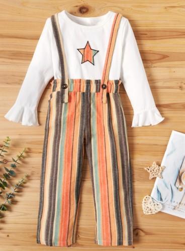 Kids Girl Spring Stripes 2 Piece Suspender Pants Set