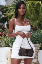 Mini abito increspato con cinturino basic bianco estivo