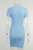 Summer Blue Basic Strick Minikleid mit kurzen Ärmeln