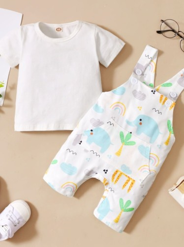 Ensemble de pantalons à bretelles 2 pièces imprimé d'été pour bébé garçon