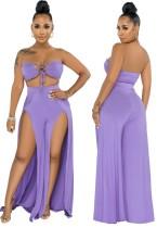 Summer Purple Lace-Up Bandeau Top y Slit Bottom pantalones de cintura alta a juego