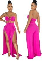 Summer Pink Lace-Up Bandeau Top y Slit Bottom pantalones de cintura alta a juego
