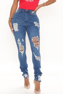 Jeans strappati a vita alta blu estivi