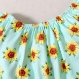 Camicia floreale estiva per bambina e pantaloncini di jeans abbinati