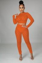 Summer Orange Sexy Hollow Out Conjunto de pantalones y top corto de manga larga
