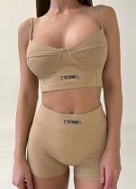 Sommer Sport Khaki Basic Strap Crop Top und Shorts Matching Set