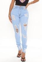Jeans strappati a vita alta azzurri estivi