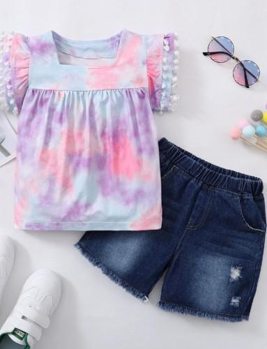 Kids Girl Summer Tie Dye Shirt and Denim Shorts Set
