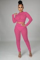 Summer Pink Sexy Hollow Out Conjunto de pantalones y top corto de manga larga