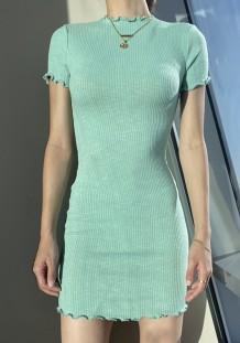 Mini abito in maglia basic verde estivo con maniche corte
