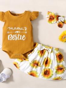 Baby Girl Summer Floral 3-teiliges Rock-Set