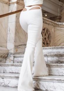 Pantaloni svasati a vita alta con taglio sexy bianco estivo