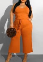 Summer Plus Size Casual Orange Sleeveless Jumpsuit