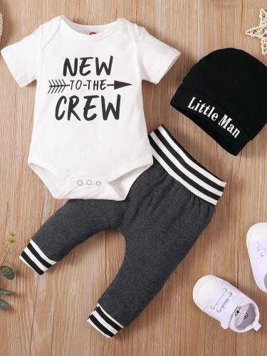 Ensemble de pantalon 3 pièces imprimé d'été pour bébé garçon