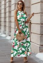 Robe d'été longue à licou floral avec ceinture