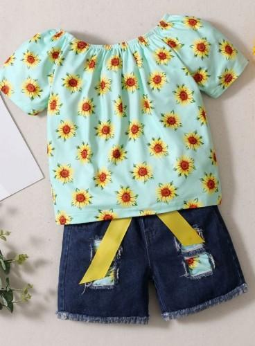 Kids Girl Summer Floral Shirt and Matching Denim Shorts Set