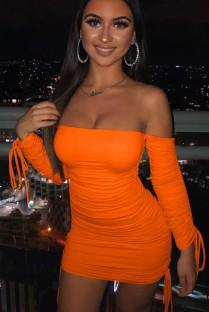 Abito tubino con stringhe increspate sexy arancione estivo con guanti