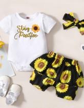 Conjunto de pantalón corto de 3 piezas con estampado floral de verano para bebé niña